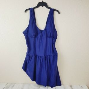 Swim Suit Blue Swimsuit with Ruffle Cover up